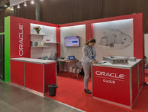 Oracle company booth at CEE 2015, the largest electronics trade show in Ukraine Royalty Free Stock Photos