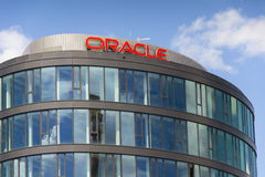 Oracle corporation logo on the building of Czech headquarters. PRAGUE, CZECH REPUBLIC - JUNE 18: Oracle corporation logo on the building of czech headquarters on Stock Photo