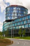 Oracle företagslogo på högkvarter som bygger på Juni 18, 2016 i Prague, Tjeckien Arkivfoto