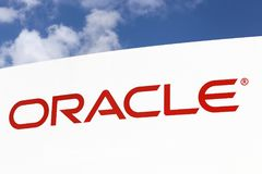 Oracle-Logo auf einer Platte lizenzfreie stockfotografie