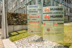 Oracle och Huawei munich Royaltyfria Foton