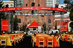 Oracle OpenWorld夜党的区域在Yerba Buena庭院 免版税库存照片
