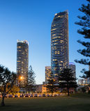 The Oracle precinct in Broadbeach. Broadbeach, Qld, Australia on 20th Jan 2016: The Oracle is a two-tower luxury apartment development in Broadbeach on the GC Royalty Free Stock Photography