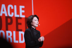 Oracle President and CFO Safra Catz makes speech at Oracle OpenWorld conference Royalty Free Stock Photos