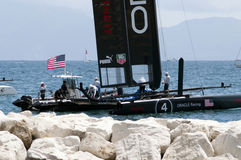 Oracle Team. On american catamaran in Naples for America's Cup World Series 2012 Royalty Free Stock Images