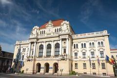 Oradea byggande av stadshuset Arkivbild
