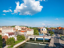 Oradea city center. Bridge over Crisul Repede river and Sion Syn Stock Images