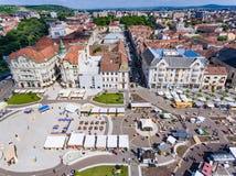 Oradea city center Union Square aerial view Stock Images