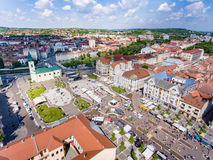 Oradea city center Union Square aerial view Royalty Free Stock Photography