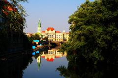 Oradea City Hall. Reflection of Oradea city hall on the river Royalty Free Stock Images