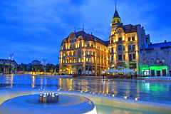 Oradea city, Romania. Union square (Piata Unirii) seen at the blue hour in Oradea, Romania Royalty Free Stock Image