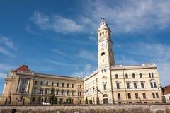 Oradea, construcción ayuntamiento Imagen de archivo libre de regalías
