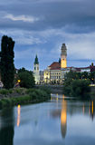 Oradea downtown under evening clouds. The downtown for Oradea while the storm clouds are blown away Royalty Free Stock Photography
