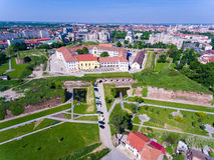 Oradea-Festungsvogelperspektive Stockbild