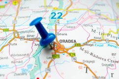 Oradea on map. With push pin. Großwardein, Nagyvárad Stock Photo