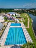 Oradea, Romênia - 17 de maio de 2017: Waterpark de Oradea com waterslide Imagem de Stock Royalty Free