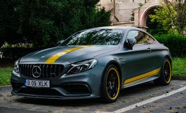 Oradea/Romania- May 17, 2019: Mercedes-Benz C63 S coupe is a performance coupé introduced in 2016. And a variant of the Mercedes-Benz royalty free stock images
