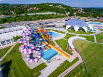 Oradea, Romania - May 17, 2017: Oradea waterpark with waterslide. S and thermal pools Royalty Free Stock Images