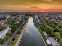 Oradea at sunset aerial view Royalty Free Stock Images