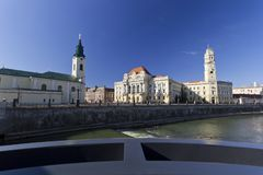 Oradea Town Hall near Crisul Repede river royalty free stock image