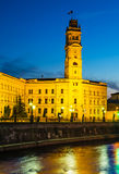 Oradea Town Hall Tower at twilight, Romania Stock Image