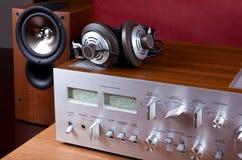 Orador audio análogo dos fones de ouvido do amplificador do sistema estereofônico Fotos de Stock