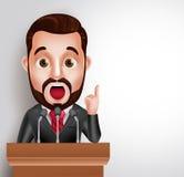 Orador do caráter do vetor na conferência ou no debate ter que fala no microfone Imagem de Stock