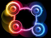 Orador do disco com círculo de néon do arco-íris ilustração do vetor
