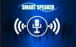 Orador inteligente do futuro com gravação, aprendendo, memorando ilustração stock