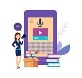 Orador ou assistente esperto da voz Assistente inteligente no ensino eletrónico, multimédios ilustração stock