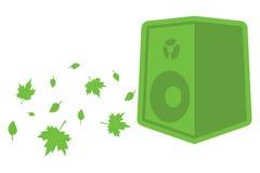 Orador verde da ecologia com folhas Fotografia de Stock Royalty Free