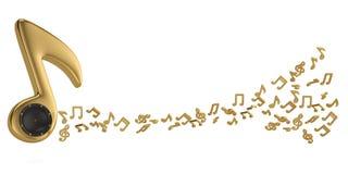 Oradores em símbolos de música e em notas grandes da música ilustração 3D Ilustração do Vetor