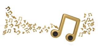 Oradores em símbolos de música e em notas grandes da música ilustração 3D Ilustração Royalty Free