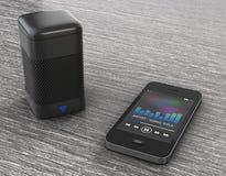 Oradores sem fio conectados ao telefone celular rendição 3d Imagem de Stock