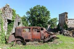 Oradour sur Glane被毁坏的村庄在1944年6月 库存照片