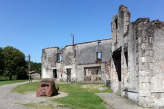 Oradour sur Glane被毁坏的村庄在1944年6月 库存图片