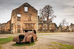Ruined house destroyed by fire following the massacre of the ent. ORADOUR SUR GLANE, FRANCE - December 03, 2017 : ruined house destroyed by fire following the Royalty Free Stock Images
