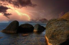 Orage au-dessus de Karadag crimea Images stock
