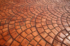 Orage color of Tile bricks floor is curve Stock Photography