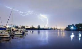 Orage de grève surprise de Thea Foss Waterway Tacoma Washington Photo stock