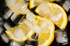 Orages in a bowl of ice. Slices of orange in a bowl with ice Royalty Free Stock Photos