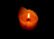 Oragne Candle  glow in Darkness Royalty Free Stock Photo