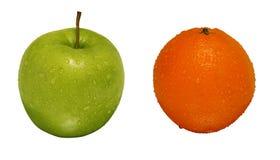 Oragnic grüner Apfel und Orange Lizenzfreies Stockfoto