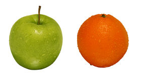 Oragnic green apple and orange Royalty Free Stock Photo