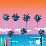 Oragzhevy небо на пляже с пальмами Стоковое Фото