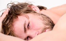 Orakad skäggig framsidasömn för man att koppla av eller precis vakna upp Kopplar av skäggigt macho för grabb i morgon Slutsumman  royaltyfri fotografi