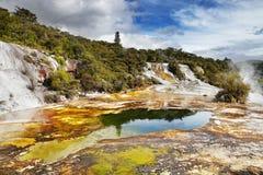 Orakei Korako geotermal valley stock photos
