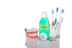 Oral care essential products tapered toothbrush, toothpaste, mou Stock Photography