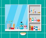 Oral care and hygiene products. Bathroom mirror, dental cleaning tools, products for beauty. Oral care and hygiene products. Toothbrush, cream, paste, shampoo stock illustration