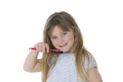Oral care by little child Royalty Free Stock Photos